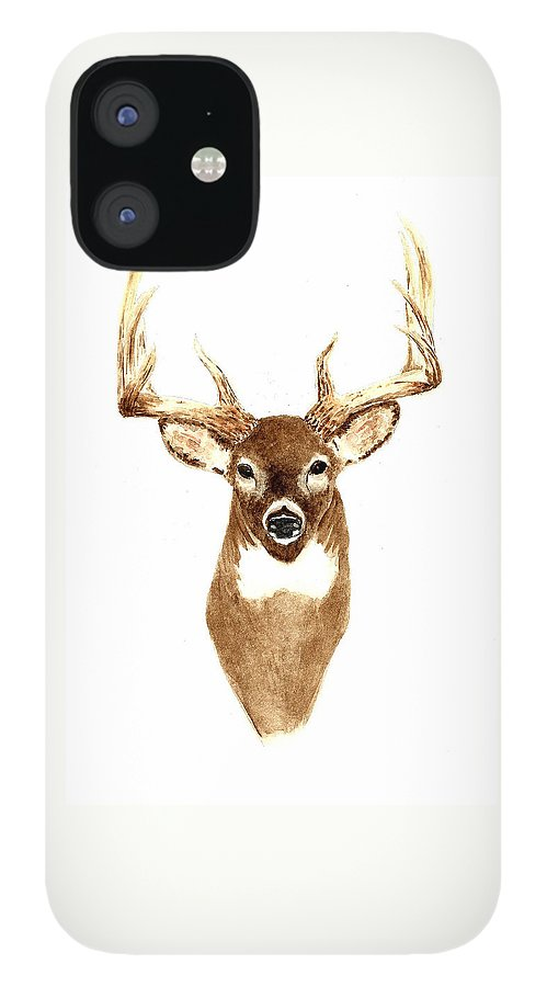 Deer IPhone 12 Case featuring the painting Deer - Front View by Michael Vigliotti