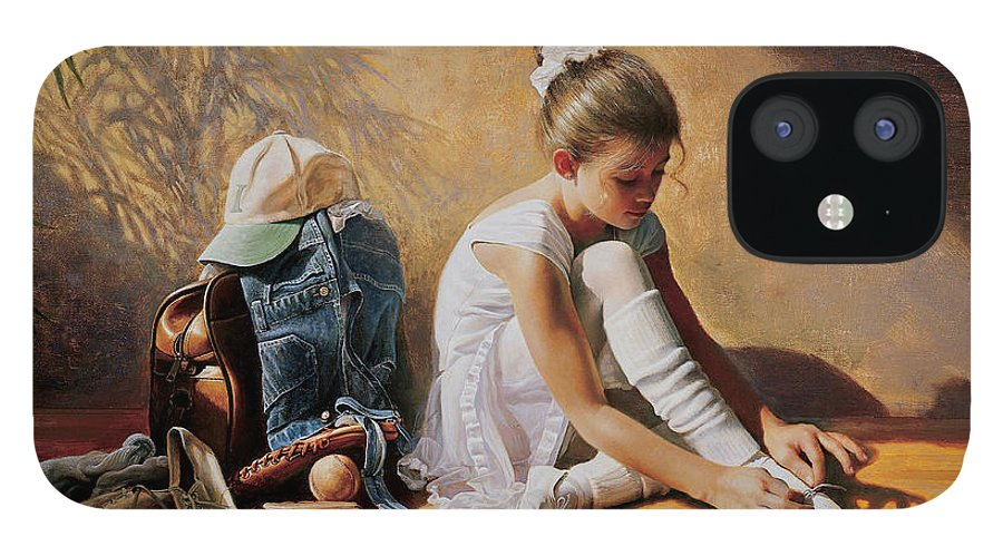 Dancer IPhone 12 Case featuring the painting Denim to Lace by Greg Olsen