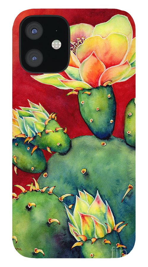 Cactus iPhone 12 Case featuring the painting Desert Bloom by Hailey E Herrera