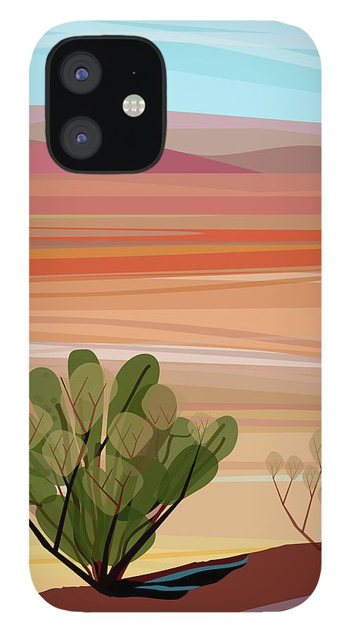 Saguaro Cactus IPhone 12 Case featuring the photograph Desert, Cactus Brush, Mountains In by Charles Harker