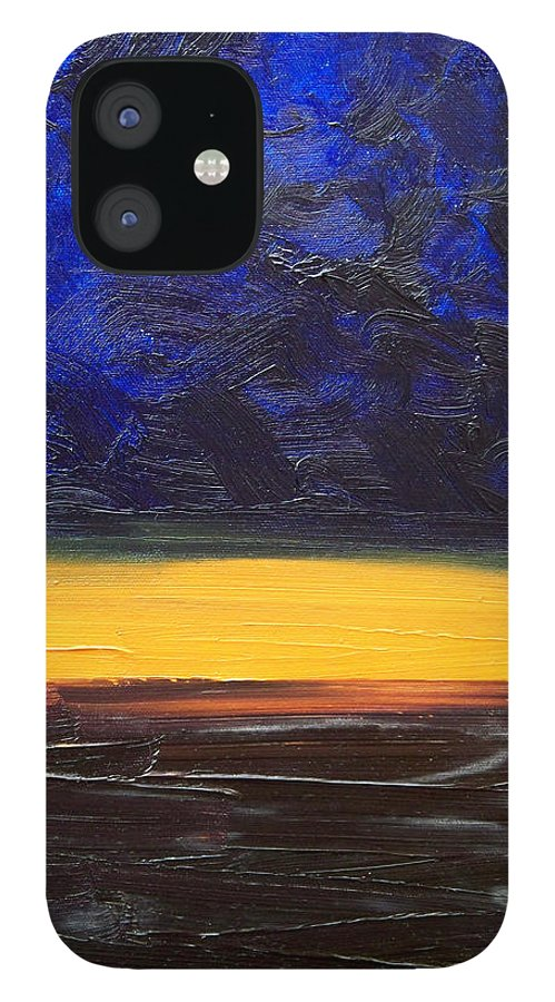 Landscape IPhone 12 Case featuring the painting Desert plains by Sergey Bezhinets