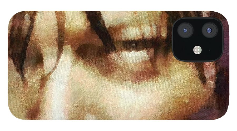 Daryl Dixon IPhone 12 Case featuring the painting Detail Of Daryl Dixon by Janice MacLellan