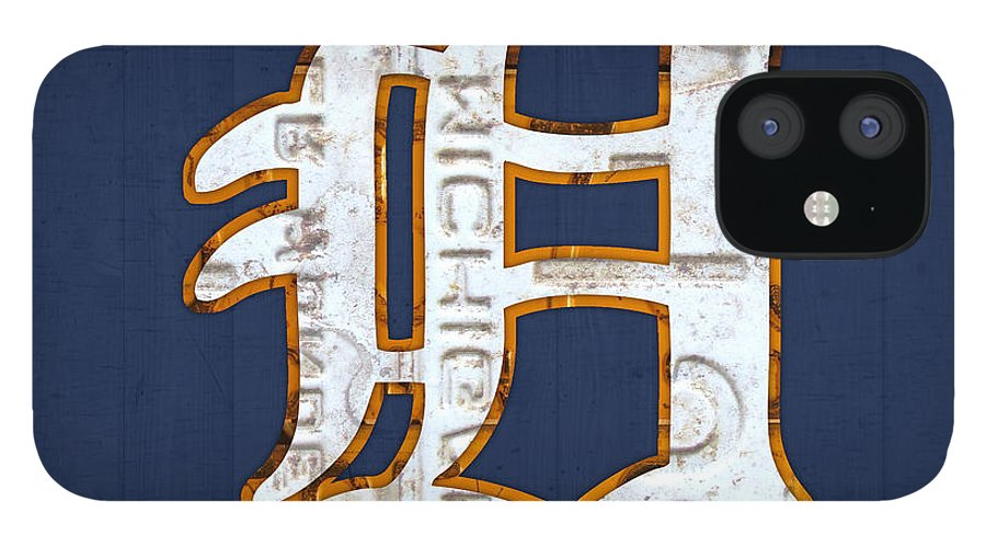 Detroit Tigers Baseball Old English D Logo License Plate Art Sports Michigan License Plate Map IPhone 12 Case featuring the mixed media Detroit Tigers Baseball Old English D Logo License Plate Art by Design Turnpike