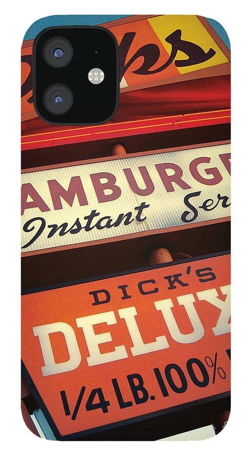 Burgers iPhone 12 Case featuring the digital art Dick's Hamburgers by Jim Zahniser