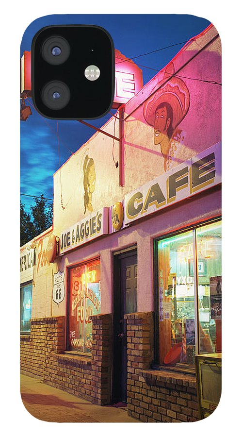 Shadow IPhone 12 Case featuring the photograph Diner Along Route 66 At Dusk by Gary Yeowell