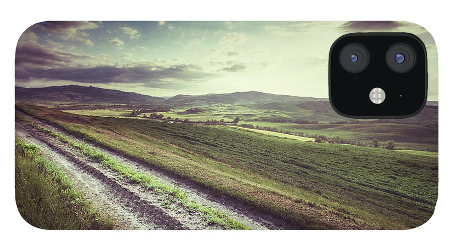 Steppe IPhone 12 Case featuring the photograph Dirt Track In Tuscany by Xavierarnau