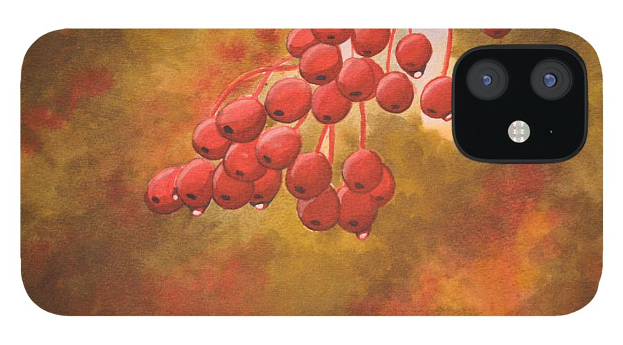 Rick Huotari IPhone 12 Case featuring the painting Door County Cherries by Rick Huotari