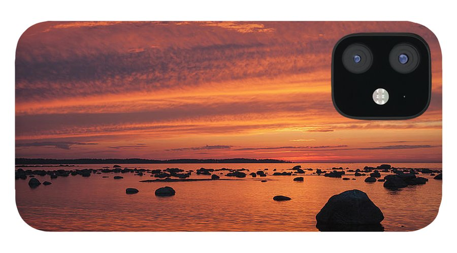 Tranquility IPhone 12 Case featuring the photograph Dramatic Sunset Light by Franz Aberham