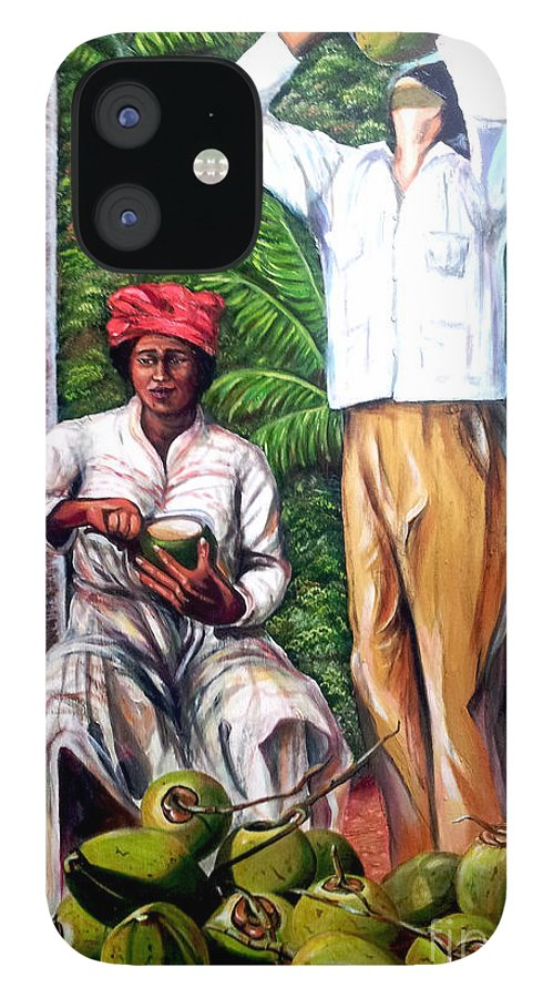 Coconut IPhone 12 Case featuring the painting Drinking coconut water by Jose Manuel Abraham