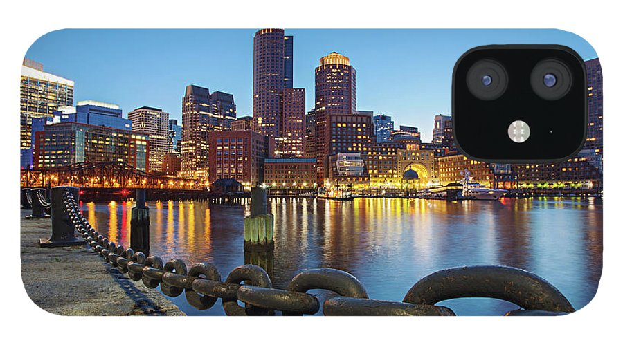Clear Sky IPhone 12 Case featuring the photograph Dusk In Boston by Photography By Nick Burwell