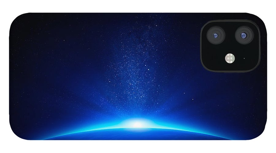 Earth IPhone 12 Case featuring the photograph Earth sunrise in space by Johan Swanepoel