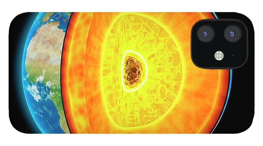 Shadow IPhone 12 Case featuring the digital art Earths Internal Structure, Artwork by Science Photo Library - Andrzej Wojcicki