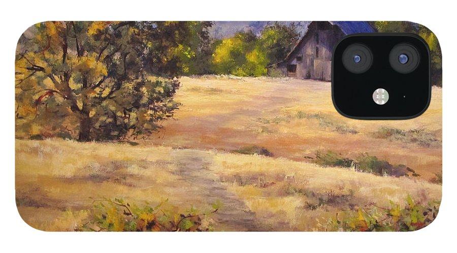 Landscape IPhone 12 Case featuring the painting Edge of Autumn by Karen Ilari