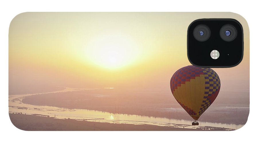 Luxor IPhone 12 Case featuring the photograph Egypt, View Of Hot Air Balloon Over by Westend61
