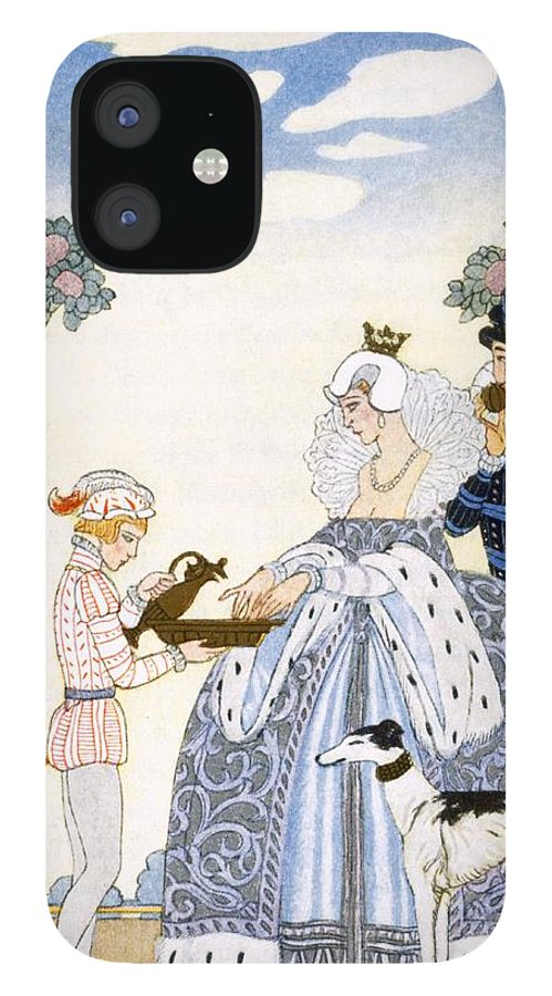 Stencil IPhone 12 Case featuring the painting Elizabethan England by Georges Barbier