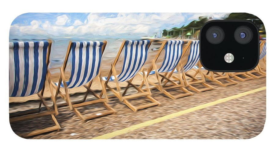 Deckchairs IPhone 12 Case featuring the photograph Empty deckchairs at Southend on Sea by Sheila Smart Fine Art Photography
