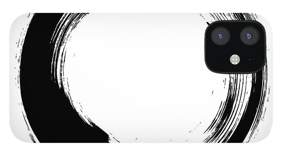 East IPhone 12 Case featuring the digital art Enso – Circular Brush Stroke Japanese by Thoth adan