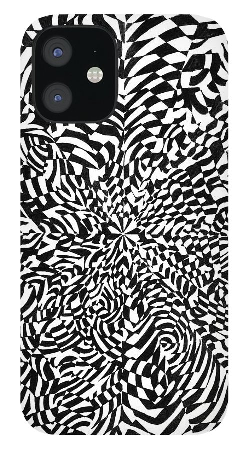Abstract IPhone 12 Case featuring the drawing Entangle by Crystal Hubbard