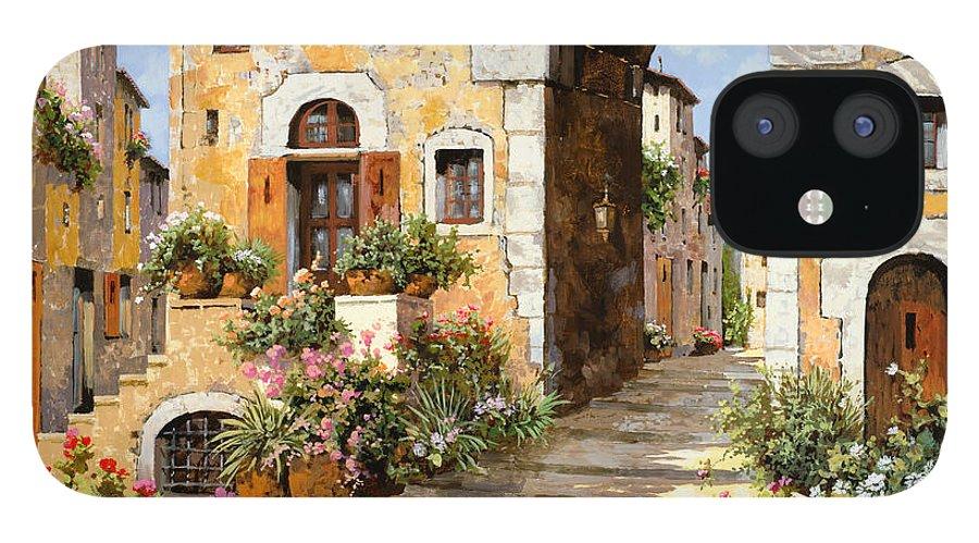 Cityscape iPhone 12 Case featuring the painting Entrata Al Borgo by Guido Borelli