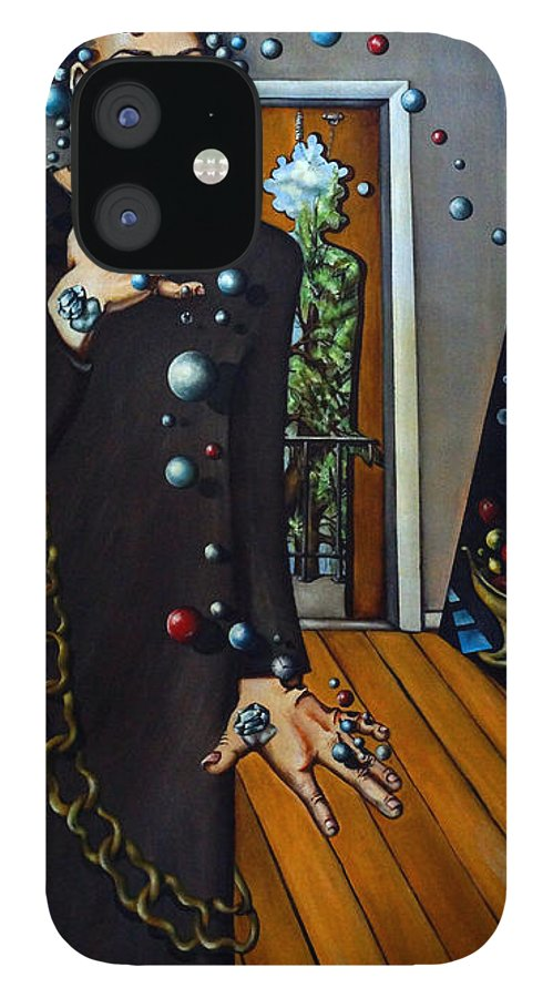 Surreal IPhone 12 Case featuring the painting Existential Thought by Valerie Vescovi