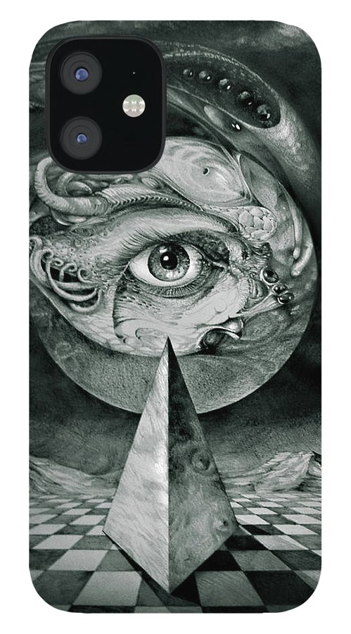 otto Rapp Surrealism IPhone 12 Case featuring the drawing Eye Of The Dark Star by Otto Rapp