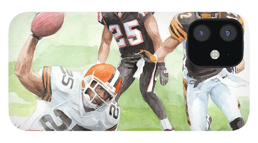 <a Href=http://miketheuer.com Target =_blank>www.miketheuer.com</a> Falcons Bengals Football Watercolor Portrait iPhone 12 Case featuring the drawing Falcons Bengals Football Watercolor Portrait by Mike Theuer