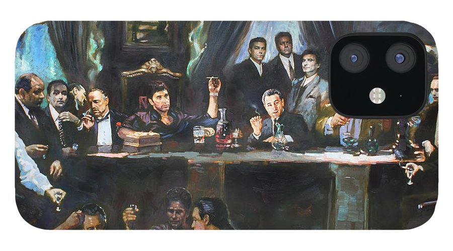 Gangsters IPhone 12 Case featuring the painting Fallen Last Supper Bad Guys by Ylli Haruni