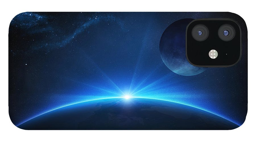 Earth IPhone 12 Case featuring the photograph Fantasy Earth and Moon with sunrise by Johan Swanepoel