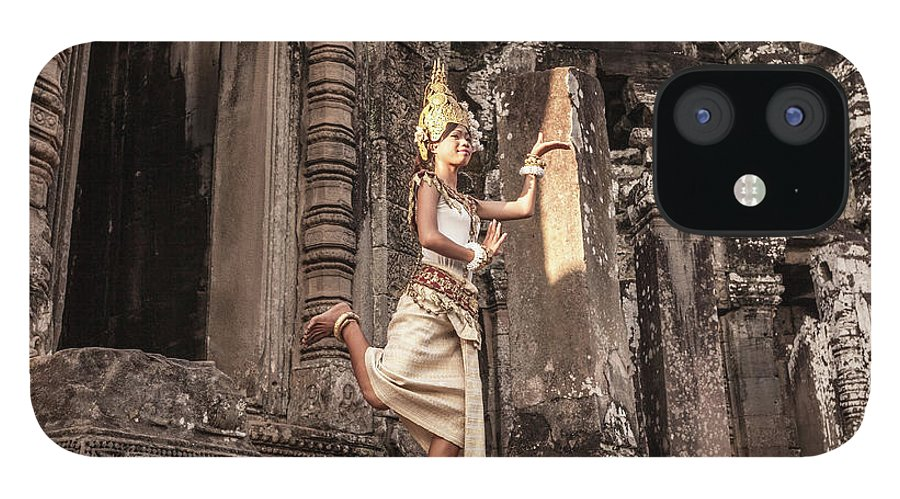Hinduism IPhone 12 Case featuring the photograph Female Apsara Dancer, Standing On One by Cultura Exclusive/gary Latham