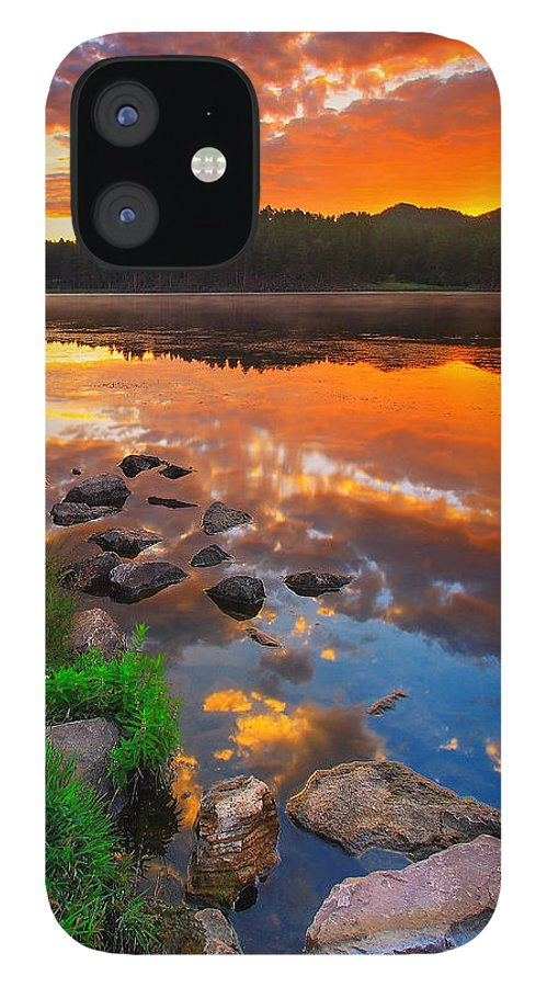 Beauty IPhone 12 Case featuring the photograph Fire On Water by Kadek Susanto