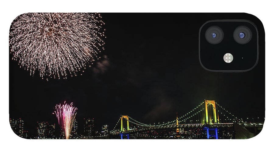 Firework Display IPhone 12 Case featuring the photograph Fireworks At Rainbow Bridge by ©alan Nee
