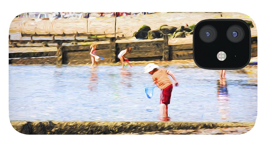 Children Fishing IPhone 12 Case featuring the photograph Fishing at Southend by Sheila Smart Fine Art Photography