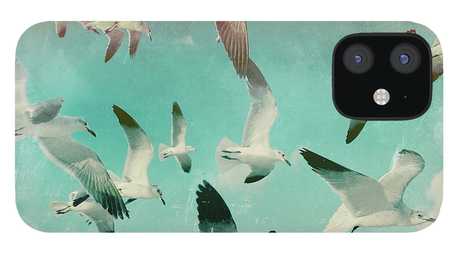 Animal Themes IPhone 12 Case featuring the photograph Flock Of Seagulls, Miami Beach by Michael Sugrue