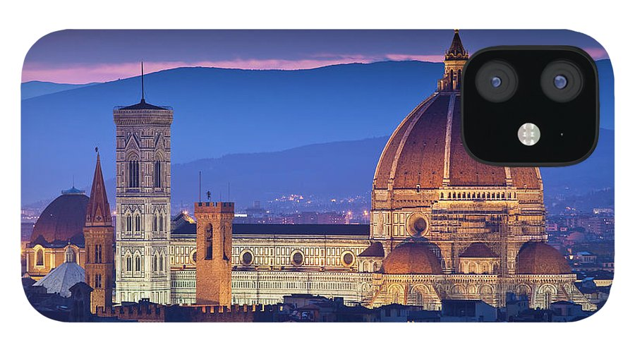 Built Structure IPhone 12 Case featuring the photograph Florence Catherdral Duomo And City From by Richard I'anson