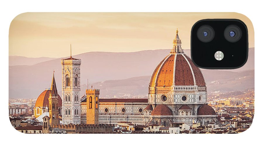 Campanile IPhone 12 Case featuring the photograph Florences Cathedral And Skyline At by Filippobacci