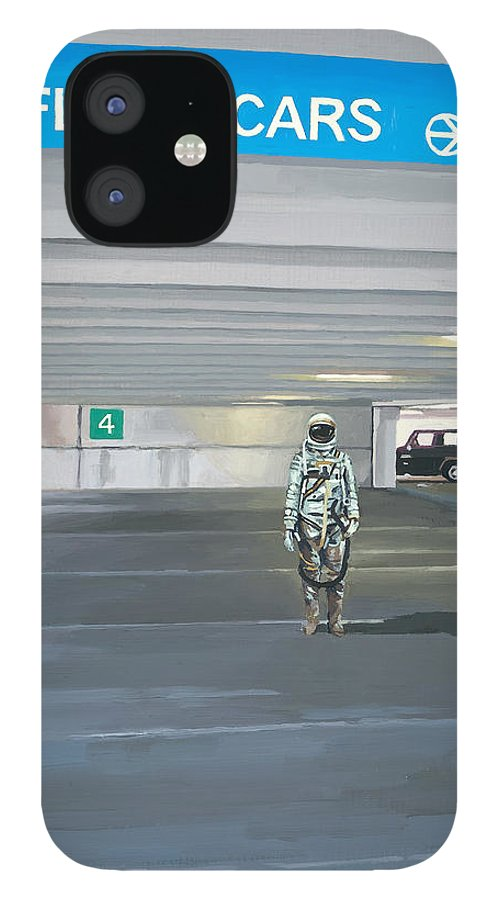 Astronaut IPhone 12 Case featuring the painting Flying Cars to the Right by Scott Listfield