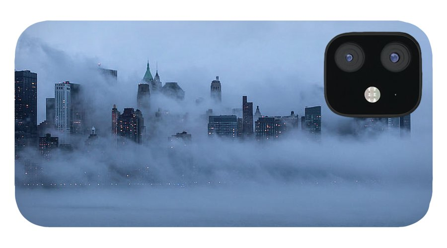 Dawn IPhone 12 Case featuring the photograph Foggy New York City by Laverrue Was Here