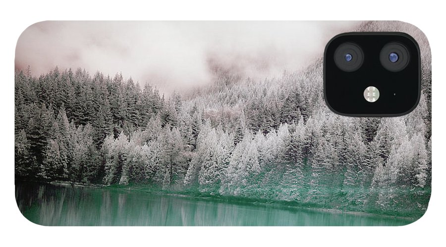 Tranquility IPhone 12 Case featuring the photograph Forest And Pristine Lake by Marlene Ford