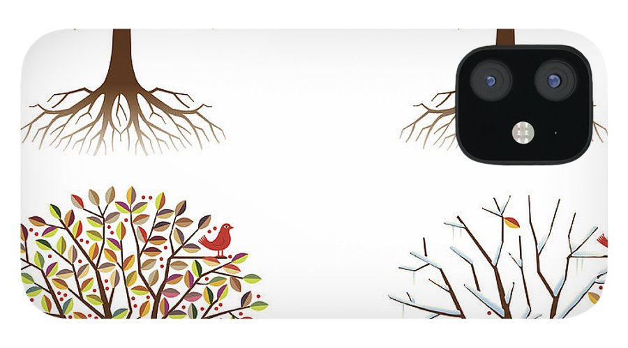 Environmental Conservation IPhone 12 Case featuring the digital art Four Seasons In One Tree by Johnwoodcock