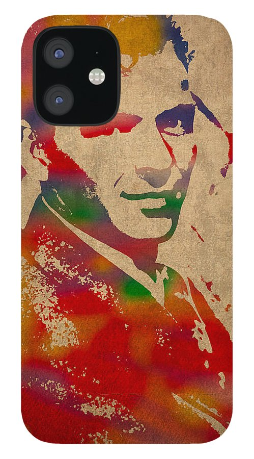 Frank IPhone 12 Case featuring the mixed media Frank Sinatra Watercolor Portrait on Worn Distressed Canvas by Design Turnpike