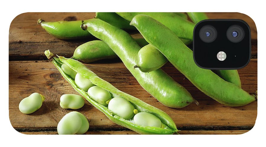 Healthy Eating IPhone 12 Case featuring the photograph Fresh Broad Beans In Their Pods by Paul Williams - Funkystock