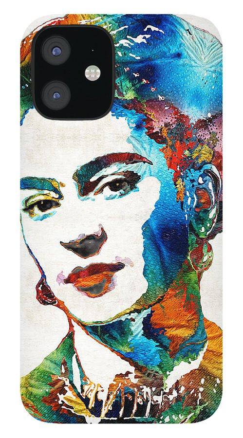 Frida Kahlo IPhone 12 Case featuring the painting Frida Kahlo Art - Viva La Frida - By Sharon Cummings by Sharon Cummings