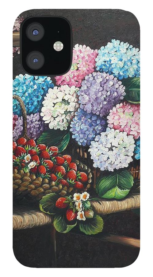 Hydrangea Paintings Floral Paintings Botanical Paintings Flower Paintings Blooms Hydrangeas Strawberries Paintings Red Paintings Basket Paintings Pink Paintings Garden Paintings  Blue Paintings  Greeting Card Paintings Canvas Paintings Poster Print Paintings  IPhone 12 Case featuring the painting From My Garden by Karin Dawn Kelshall- Best