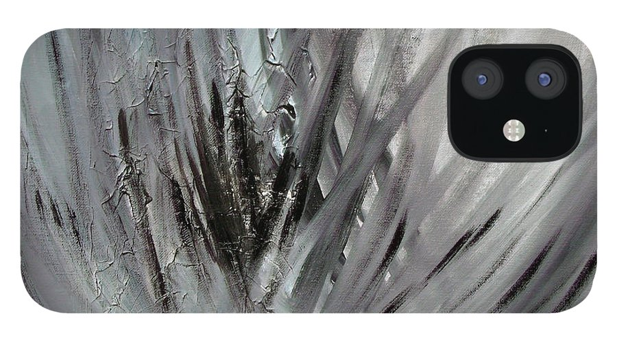 Abstract IPhone 12 Case featuring the painting Frozen by Sergey Bezhinets