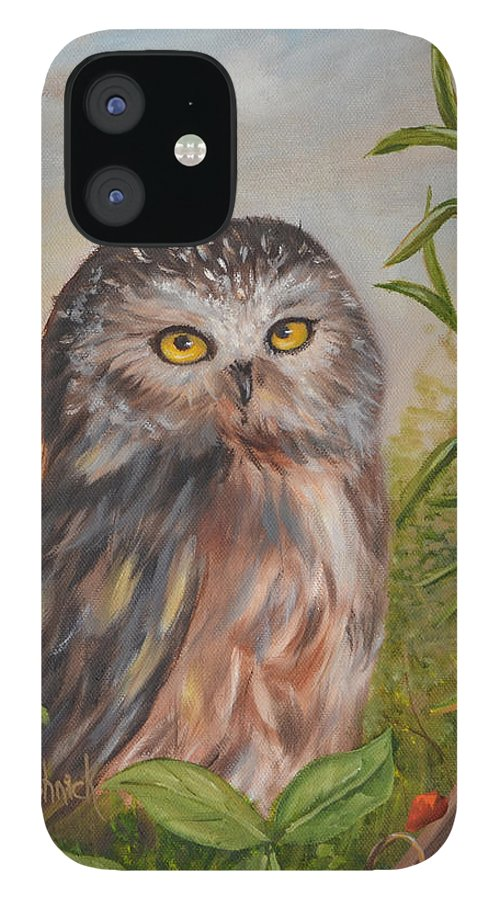 Owls IPhone 12 Case featuring the painting Fukuro by Anne Kushnick