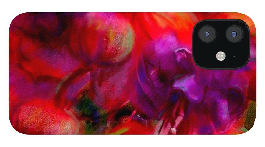 Fuschia IPhone 12 Case featuring the painting Fuschia Excitement by Francine Dufour Jones