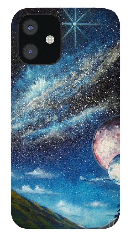 Space Horizon IPhone 12 Case featuring the painting Galatic Horizon by Murphy Elliott
