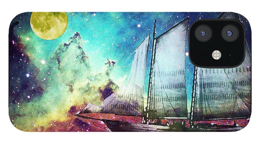 Schooner IPhone 12 Case featuring the painting Galileo's Dream - Schooner Art By Sharon Cummings by Sharon Cummings