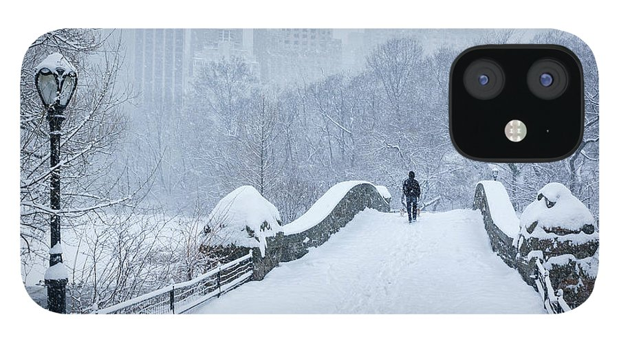 Elevated Walkway IPhone 12 Case featuring the photograph Gapstow Bridge Central Park Snowstorm by Matejphoto