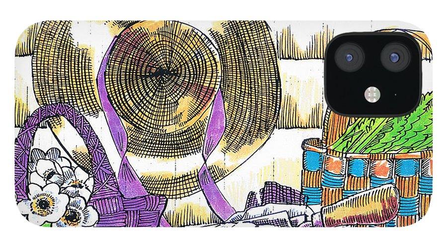 Gardener's Basket IPhone 12 Case featuring the drawing Gardener's Basket by Seth Weaver